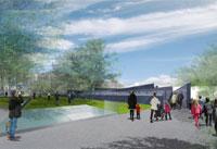 Artist impression van het ontwerp van Libeskind voor het Holocaust Namenmonument in het Wertheimpark